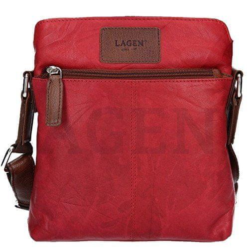 Lagen Kožená červená taška přes rameno CB-005 Red/Brown