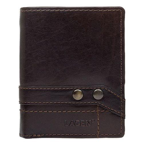 Lagen Kožená hnědá peněženka 558 NC/T Dark Brown