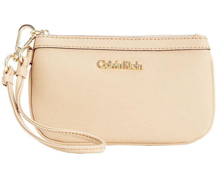Calvin Klein Béžová kabelka Saffiano Wristlet