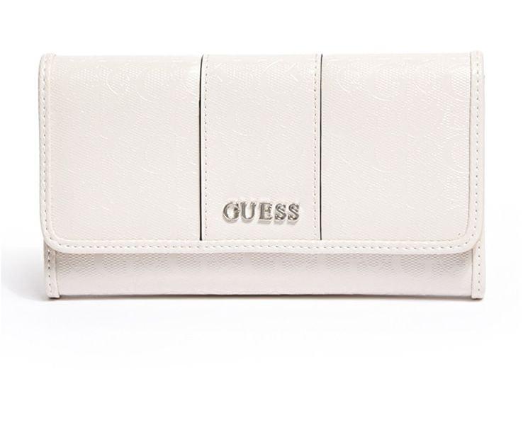 Guess Peněženka Glazed Ware Patent Logo Slim Wallet Capuccino