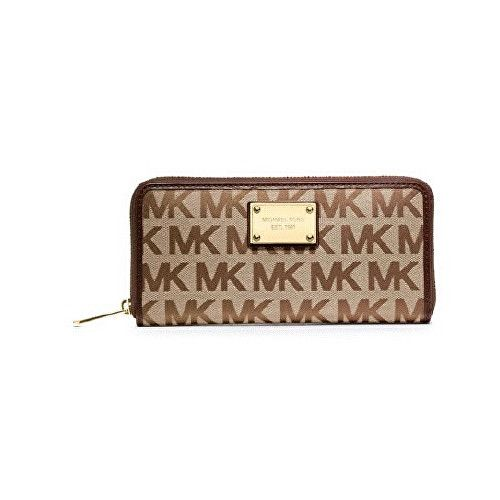 Michael Kors Peněženka MK Logo Zip Around Continental Brown