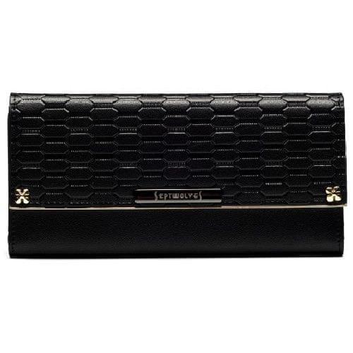 Septwolves Dámská kožená černá peněženka PEND002490K