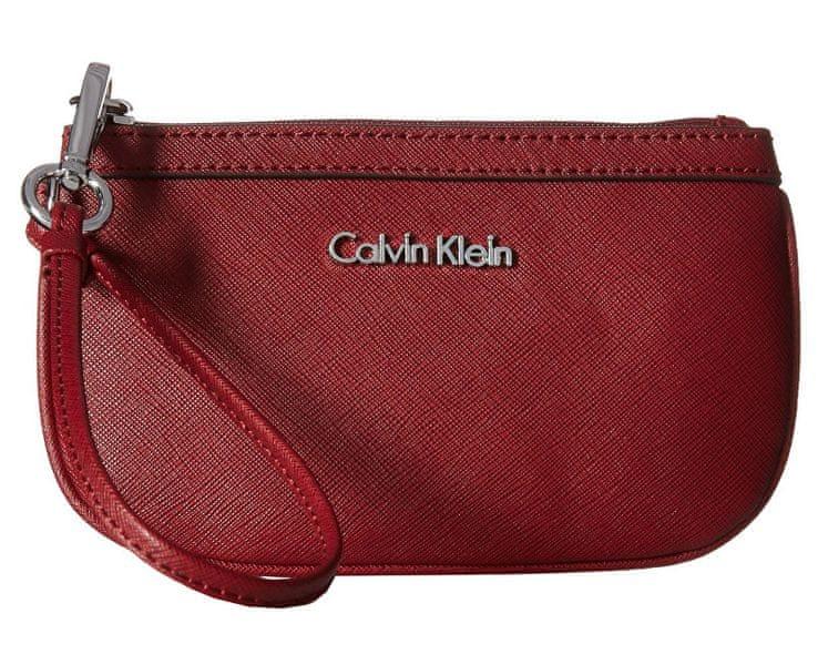Calvin Klein Červená kabelka Saffiano Wristlet