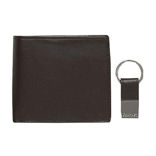 Calvin Klein Pánská černá peněženka s klíčenkou Leather Coin Pocket Bifold Wallet with Key Fob