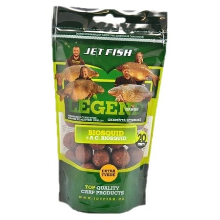 Jet Fish Boilie Legend Range Extra Tvrdé 250 g 30 mm brusinka