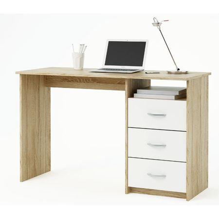 Računalniška miza CD32, hrast-bela