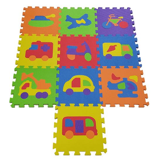 COSING Penová podložka Puzzle - Dopravné prostriedky 10 ks