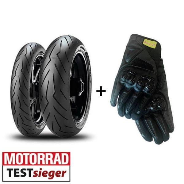 Pirelli 120/70 ZR 17 TL (58W) + 180/55 ZR 17 (73W) TL Diablo Rosso III zadní + rukavice AI