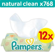 Pampers Ubrousky Natural Clean 12 x 64ks