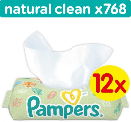 Pampers Natural Clean törlőkendő, 12 x 64 db
