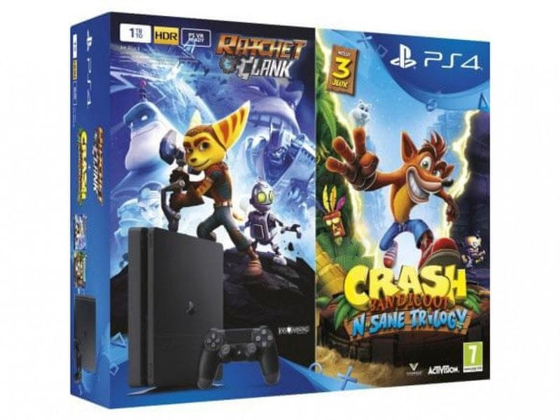 Sony Playstation 4 Slim - 500GB + Crash Bandicoot + Ratchet & Clank
