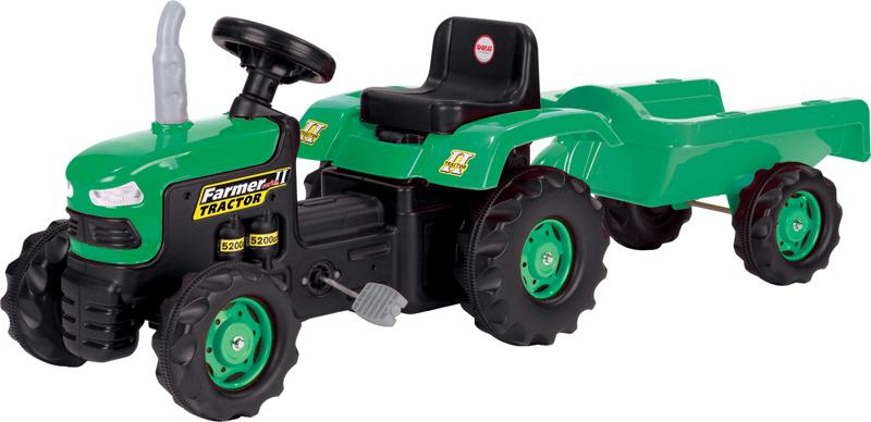 Dětský traktor šlapací s vlečkou - zelený