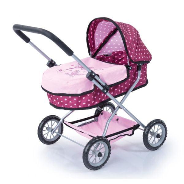 Bayer Design Růžový kočárek pro panenky se vzorkem Smarty