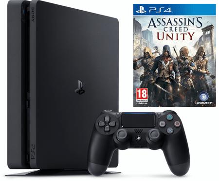 Sony Playstation 4 Slim, 500 GB, črn + Assassin's Creed: Unity