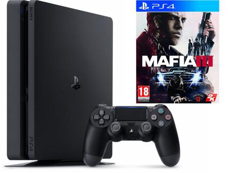 Sony Playstation 4 Slim, 500 GB, črn + Mafia 3