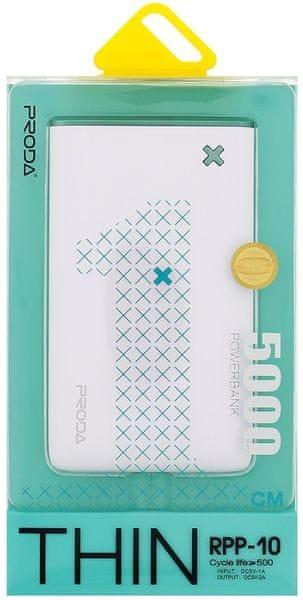 REMAX PowerBank RPP-10 Thin (5000 mAh), bílá/zelená