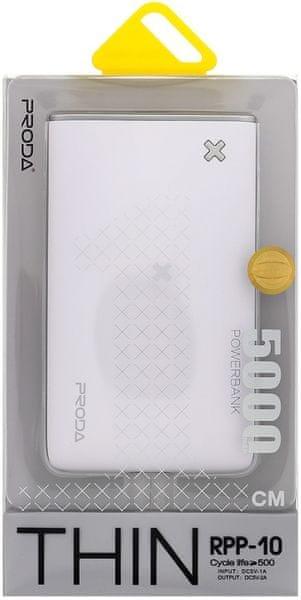 REMAX PowerBank RPP-10 Thin (5000 mAh), bílá/stříbrná