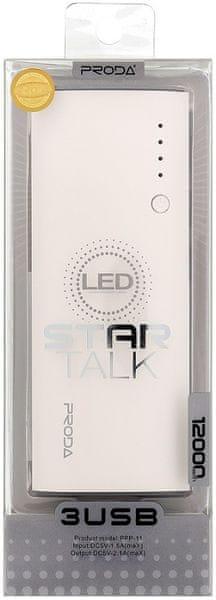 REMAX PowerBank PPP-11 Proda Star Talk (12000 mAh), bílá