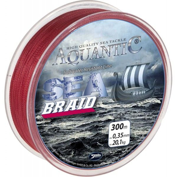 Saenger Aquantic Pletená Šňůra Sea Braid Červená 300 m 0,18 mm, 9,2 kg