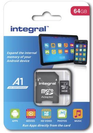 Integral spominska kartica microSDXC 64GB A1 App Performance UHS-I