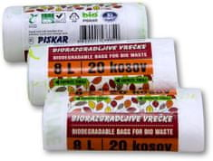 Piskar biorazgradljive vrečke, 8L / 20 kosov / 3 kpl
