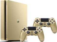 SONY Playstation 4 Slim - 500GB, zlatý + 2x Dualshock 4