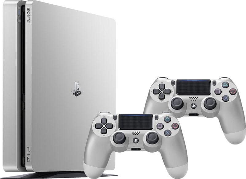 Sony Playstation 4 Slim - 500GB, stříbrný + 2x Dualshock 4