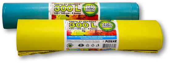 Piskar vrećice za smeće 120 x 140 cm, 300 L / 5 komada / 2 kpl
