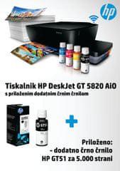 HP večfunkcijska brizgalna naprava DeskJet GT 5820 + dodatno črno črnilo GT51