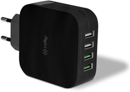 Celly Cestovní nabíječka Turbo (4x USB-A), černá