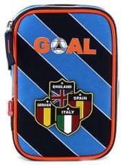 Target Školní penál s náplní Goal modré proužky