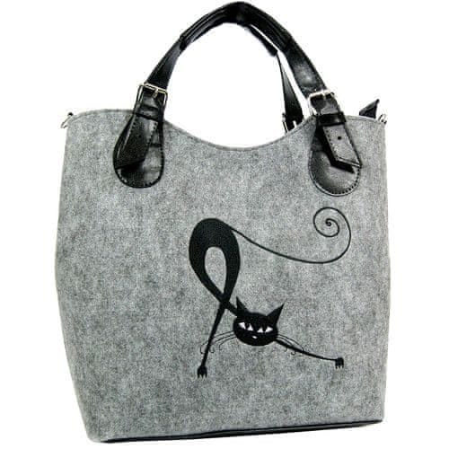 Lecharme Filcová světle šedá kabelka EKO Excent Protahující se kočka