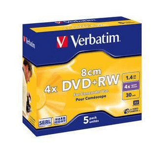 Verbatim DVD+RW medij 1,4 GB, 4x, 5-pack (43565)