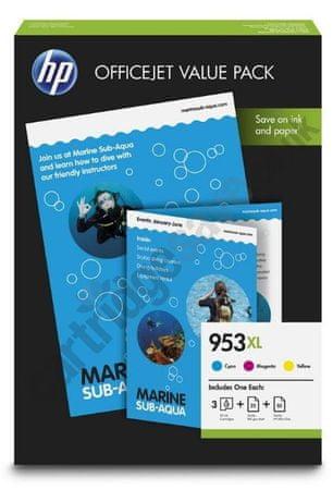 HP komplet kartuš 953XL cyan, magenta, rumena + papir A4 (1CC21AE)