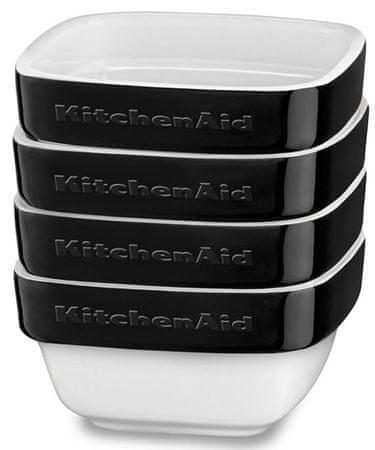 KitchenAid set pekačev Ramekins, 4-delni, črni