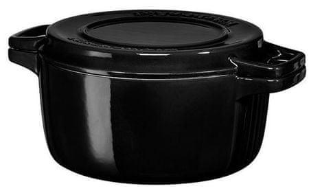 KitchenAid posoda s pokrovom, premer 28 cm, črna