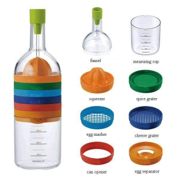Kitchen Artist Cook Bottle Láhev s 8 vyměnitelnými nádstavci