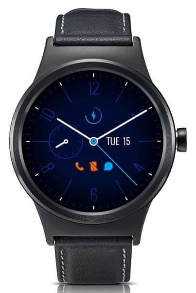 Alcatel TCL MOVETIME Smartwatch, kůže, černá/černá