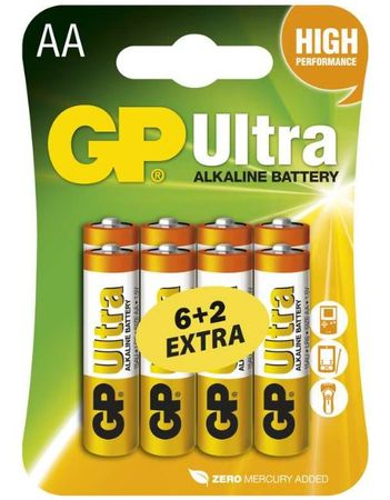 GP baterije Ultra AA (LR6), 8 kosov