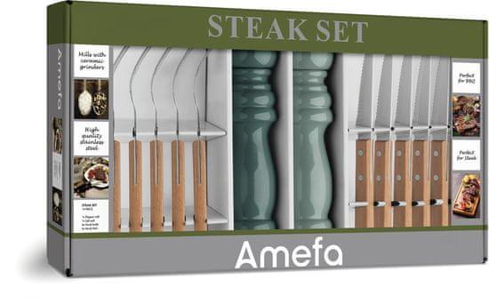Amefa zestaw 6 sztućców do steków, 2 młynki na sól i pieprz