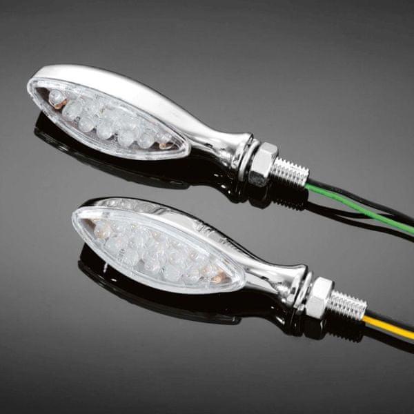 Highway-Hawk moto blinkry ALIEN s LED, E-mark, chrom (2ks)