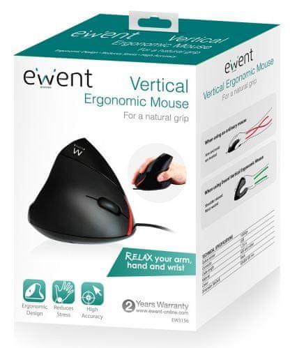 Ewent miška Ergonomic Vertical EW3156, črna, USB - Odprta embalaža