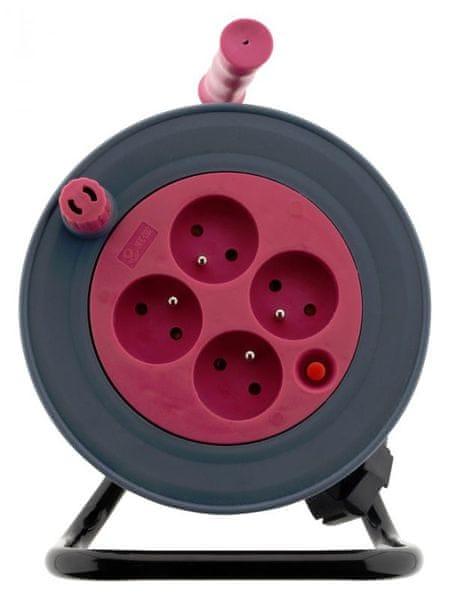 Moveto Prodlužovací kabel na bubnu 15m růžová