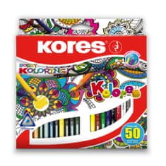 Pastelky Kores trojhranné 50 ks Mandalas pro antistres. omalovánky