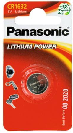 Panasonic baterija Lithium CR-1632EL, 1 kos