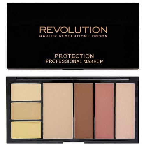 Makeup Revolution Paletka pro celou tvář - 3x korektor, pudr a konturovací sada v jednom, Medium/Dark