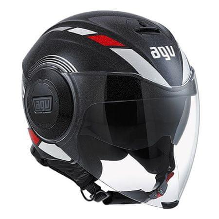 AGV motocyklová jet prilba  FLUID Equalizer, čierna/sivá vel.L (59-60cm)