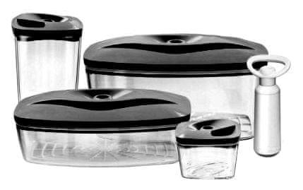 DAFI Set 4 vakuových dóz včetně pumpičky, antracit