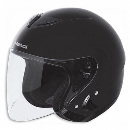 Held otvorená motocyklová prilba  KOSAR lesklá čierna, vel.XXL (63-64cm)