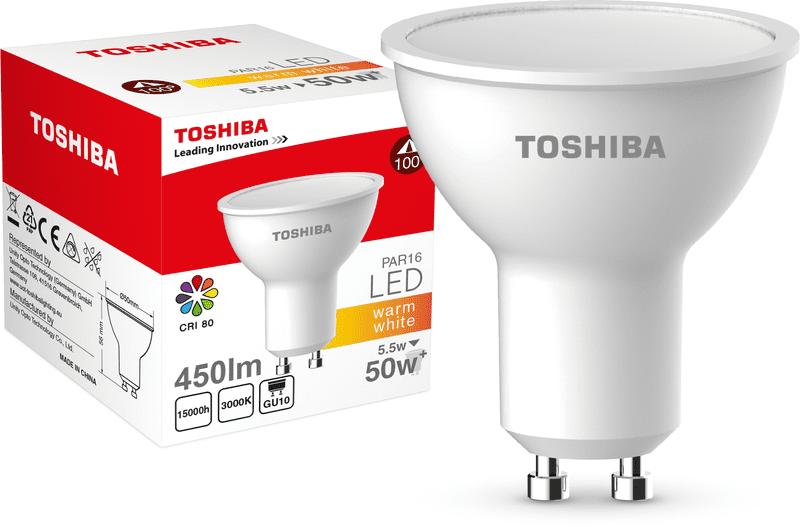 TOSHIBA PAR16 5,5W 450lm 3000K 80Ra ND 120D GU10